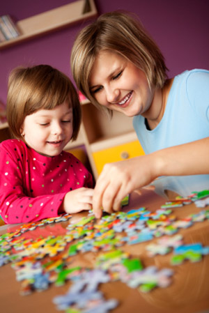 Mother and Child with Puzzle